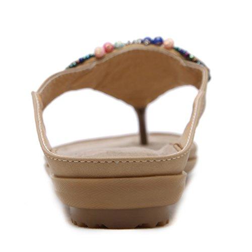 DENGBOSN Flop Elegante Bohemia Sandali Sandali Beige1 Flip Perline Decorate Donna waZrw