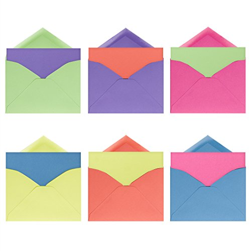 Folding Note (Neon Brights Note Card Assortment Pack - Set of 36 cards - 6 of each color, blank inside and out - with matching envelopes)
