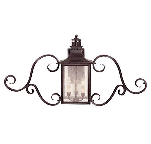 Savoy House Lighting 5-253-13 Monte Grande Collection 3-Light Outdoor Wall Mount Scroll Lantern, English Bronze Finish with Pale Cream Seeded Glass - Bronze Renaissance Three Light