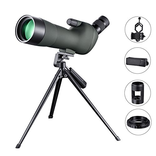LAKWAR 20-60x60 Spotting Scope for Bird Watching HD Green Film Coated, with Tripod, Phone Adapter, SLR Camera Connector, Suitable for Target Shooting, Camping, and Other Outdoor Activities by LAKWAR