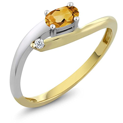 Citrine 18K Two Tone Gold Diamond Ring (Size 8) ()