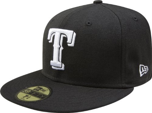 MLB Texas Rangers Black with White 59FIFTY Fitted Cap, 7 1/2