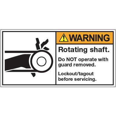 Vinyl ANSI Warning Labels - Warning Rotating Shaft - 3-1/2''h x 7''w, White ROTATING SHAFT. DO NOT OPERATE WITH GUARD REMOVED. LOCKOUT/TAGOUT BEFORE - Lb-7W X 3-1 - Super Stik Adhesive-Rotating Shaft.... - Standard Adhesive