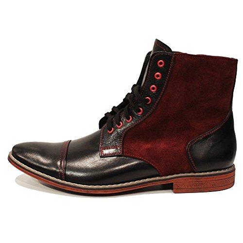 PeppeShoes Modello Garione - Handgemachtes Italienisch Leder Herren Schwarz Stiefel Stiefeletten - Rindsleder Wildleder - Schnüren