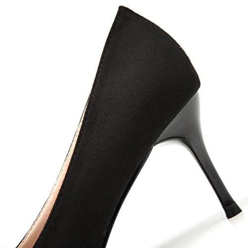 De Tacón Elegante Zapatos Metal Bigtree Tacones Altos Mujer Negro Vestir Estrecha Punta Ante Hebilla n7RxTBqt