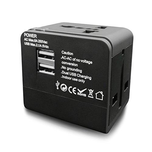 Universal Adaptador De Viaje All-in-One Plug Cargador de pared Power AC Adapter for UK US AUS EU con 2puertos USB para...