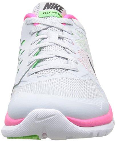 Nike Vrouwen Flex Run 2015 Hardloopschoen Zuiver Platina / Voltage Groen / Hyper Roze / Metallic