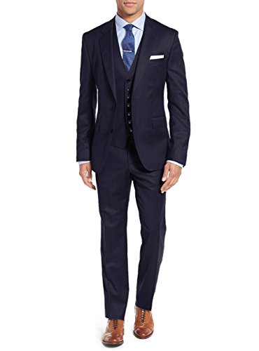 - Salvatore Exte Mens Suit Vested Three Piece Blazer Jacket Dress Vest Plus Pants (42 Short US / 52S EU/W 36