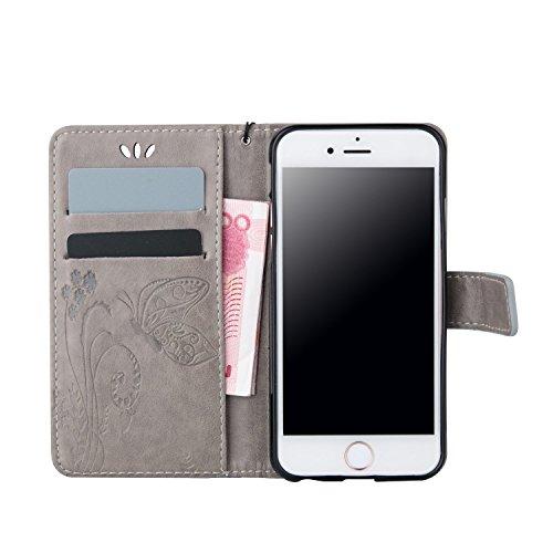 Sunroyal® Premium Flip Cuero Case Wallet - para iPhone 6 Plus / iPhone 6S Plus 5.5 Funda Caso Carcasa Ultra Slim Delgada Cover de PU Piel Silicona Estilo del Libro Cubierta en Carpeta Diseño Caja del  Gris