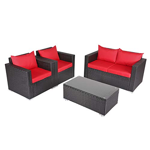 Kinbor New 4 PCs Rattan Patio Outdoor Furniture Set Garden Lawn Sofa Sectional Set Black (Red)
