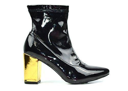 Heel Black Patent Ankle Boot - 9