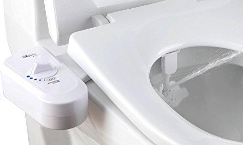 Bio Bidet BB-70 Fresh Spray Non-Electric Bidet Toilet Seat Attachment, Retractable Self Cleaning Nozzle, Brass Inlet Valve Metal Hose, Water Pressure Control, Easy DIY Install White