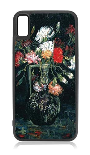 Artist Vincent Van Gogh's Vase with Flowers Painting Design Black Rubber Case for iPhone XR - iPhone XR Phone Case - iPhone XR Accessories
