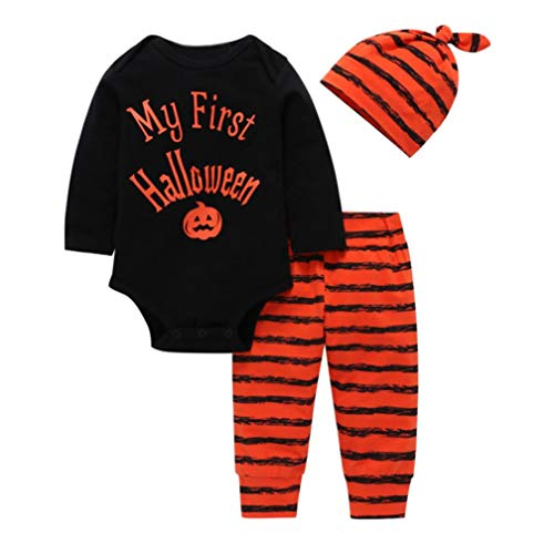 Newborn Halloween Costume Sets,Jchen(TM) Infant Baby Boy Girl Letter Pumpkin Romper Striped Pant Hat Sets for Your Baby First Halloween 0-24 Months (Age: 6-12 Months) by Jchen Baby Sets