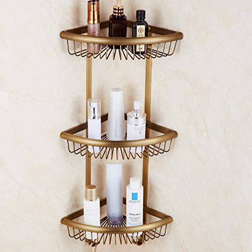 Mercury_Group, Bathroom Multi-function Shower Basket with Towel Bar and Hooks, Antique Brass Collection London Style, Good for Kitchen Home - (Color:Corner Shelf 3 Tiers)