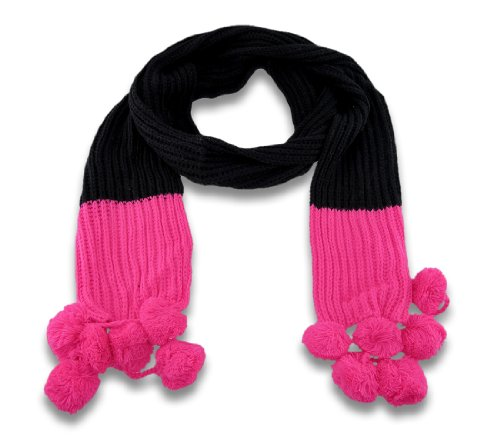 Soft Black Knit Winter Scarf with Neon Ends and Pom Poms