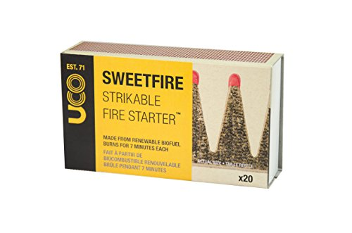 UCO Sweetfire Biofuel Fire Starters for Camping, Backpacking, and Emergency Preparedness, Strikeable, 20 Pieces