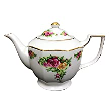 Hampstead Collection Porcelain Red/Yellow Roses Teapot 1000ml (8 Cups)