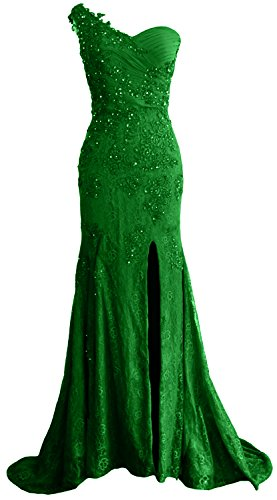 MACloth Gorgeous One Shoulder Long Prom Dress Mermaid Lace Formal Evening Gown Verde