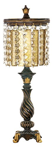 Gold Leaf/Black Amber and Crystal 1 Light Table Lamp
