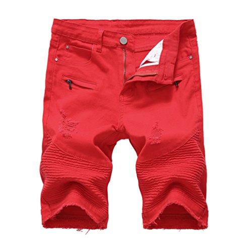 Con 1 Uomo Zip Yiiquan Da Pantaloncini Pantaloni Stile Denim Strappati Decorazione Di Jeans Elasticizzati Corti vHHgqaw6