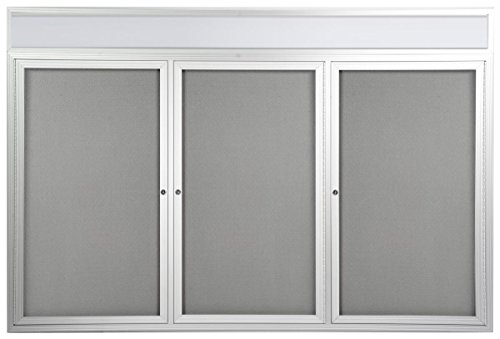3-door Enclosed Bulletin Board with Separate Header Area, 72'' x 48'' Notice Board for Wall Mount with Swing-open Doors, Gray Fabric Backer, 6' x 4' Display by Displays2go