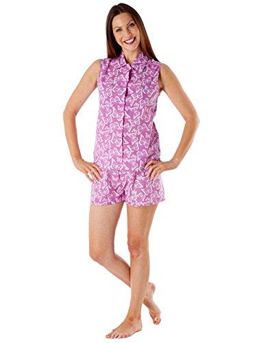 Secretos selena señoras sin mangas del algodón puro corto pijama de LN409 Raspberry