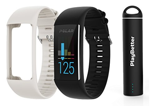 Polar A370 (Black, Medium/Large) GPS Fitness Band BUNDLE with Extra Silicone Band (White) & PlayBetter Portable Power Bank (2200mAh) | On-Wrist Heart Rate, 24/7 Activity Tracker by PlayBetter