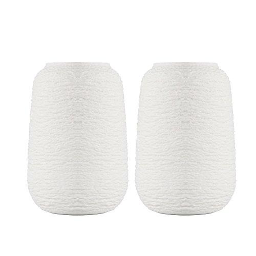 Unglazed White Ceramic (T4U Unglazed Short Ceramic Flower Vase for Home Decor White Set of 2)