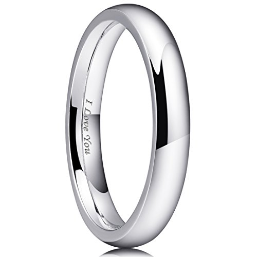 King Will 3mm Stainless Steel Ring Original Color Full High Polished with Laser Etched I Love You(10) ()