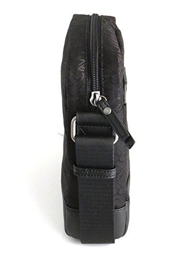 Calvin Klein Borsello con tracolla logata all over nei toni del nero 18 x 22 x 7