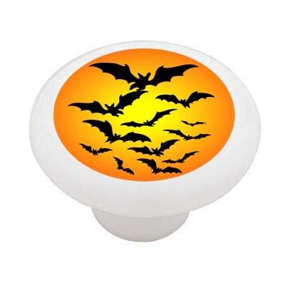 Halloween Bats White Ceramic Drawer Knob -