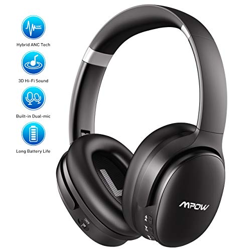 Active Noise Cancelling Headphones, Wireless Bluetooth Headphones Over Ear with 30H Playtime, Dual-Mic CVC6.0 HiFi Deep Bass Sound, Soft Memory Foam Ear Cups with Adjustable Headband for Travel/Work