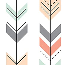 Fletching Arrows Fabric - Fletching Arrows Coral,Grey,Mint,Peach by littlearrowdesign - Fletching Arrows Fabric with Spoonflower - Printed on Fleece Fabric by the Yard