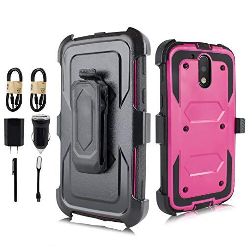 Series Marble Value (Moto G4 Case, Moto G4 Plus Case, Heavy Duty Armor Shockproof Protection Case Cover Belt Swivel Clip Kickstand Motorola Moto G4 Plus [Value Bundle] (Pink))