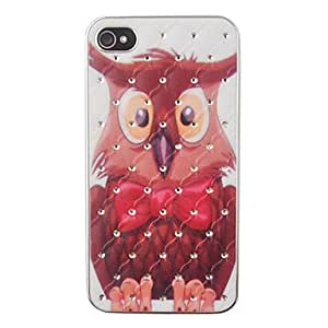 QHY Large Owl Pattern Zircon Back Case for iPhone 4/4S