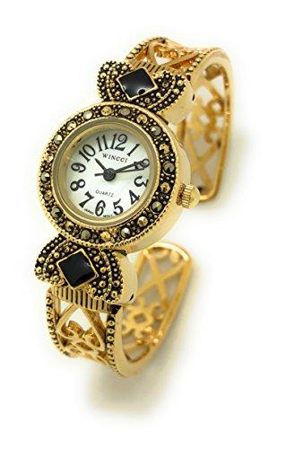 Ladies Small Round Antique Modern Metal Bangle Cuff Fashion Watch Pearl Dial Wincci (Pearl Dial Bangle Watch)