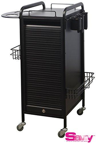 Savvy SAV-505-BB Salon Lockable Roller Cart Trolley in BLACK +Free SAV-560 Option ($65 value) + FREE Cape by Savvy