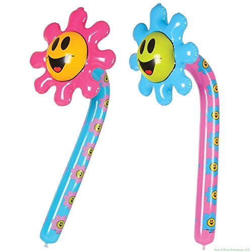 Smiley Face Flower (2 Piece Inflatable Blow Up Smiley Face Flower Decoration Party Favor)