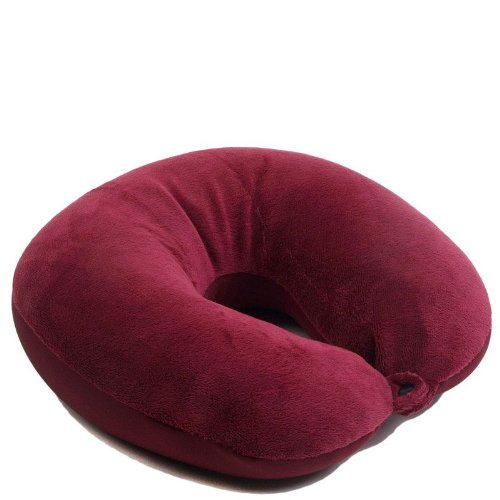 SleepMax Labs MicroBead Ultra Soft Travel Neck Pillow - Hypoallergenic Velvety Cover w/ Easy Comfort Snap Deluxe Burgundy
