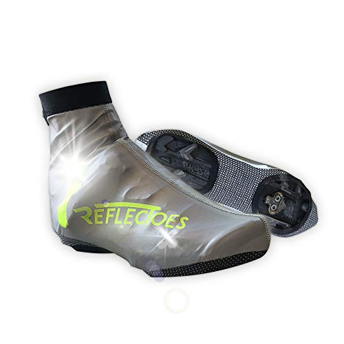 ReflecToes Full Reflective Winter Bike Shoe Covers for Cycling - Waterproof, Windproof Overshoes with 4-Way Stretch Material, Rear Zipper & BioMotion Technology - for Men & Women X-Large