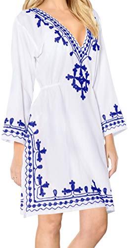 LA LEELA Women's Mini Casual Loose Beach Swimwear Cover Ups US 8-14 White_L605 (Greece Vacation)