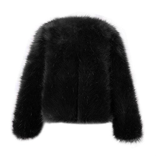 Caliente Corta del Manga de Mujeres Negro de Invierno Outwear Piel Sintética Jacket MIOIM Jacket de la Fox de nbsp;Chaqueta Capa Larga Chaqueta tf8wU