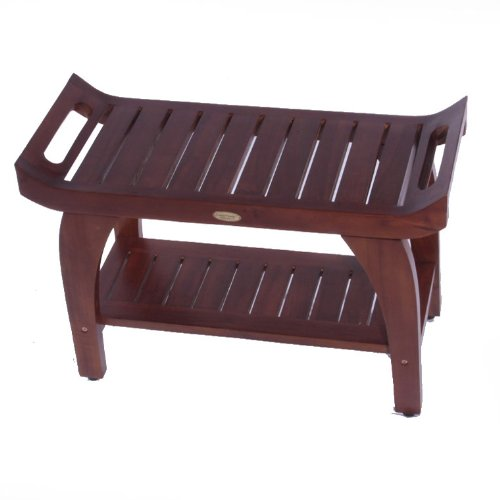 """Tranquility Teak 30"""" Eastern Style Shower Bench With Arms"""