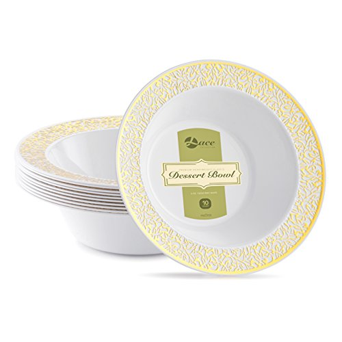 LACE PLASTIC PARTY DISPOSABLE BOWLS | 6 Ounce Hard Round Wedding Plastic Bowls | White with Gold Rim, 40 Pack | Elegant & Fancy Party Supplies Dessert Plates for all Holidays & Occasio (Salad Dessert Fruit Bowl)