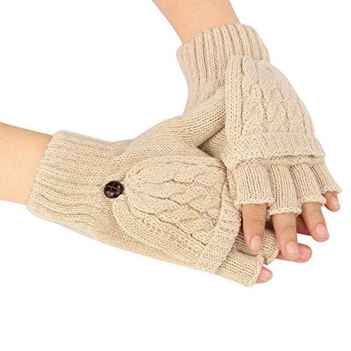 URIBAKE Women's Knit Gloves Solid Half Finger Flip Cover Warmer Winter Warm Mittens Gloves (Mittens Stretch Gore)