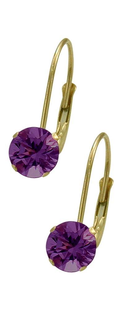 February 10K Yellow Gold 0.90tcw. 5mm Amethyst Leverback Gem Earrings Elite Jewels E3130Y-0
