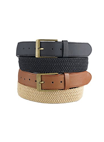 2 Belt Set - Men's Stretch Belts Set of 2, Black / Brown, Size Extra Large (1X)