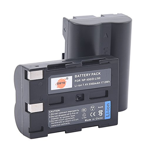 DSTE Replacement for 2X D-LI50 Li-ion Battery Compatible Pentax K10 K10D K20 K20D Camera as NP-400 SLB-1674 BP-21