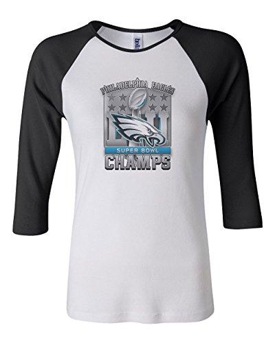 Super Bowl Lii 52 Champions Eagles Women's Bella Canvas Baby Rib Raglan T-Shirt Football Fan Tee - White/Black (Large)